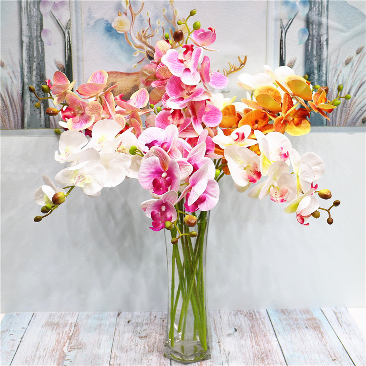 2 forquilha 3d impressão borboleta orquídea verde plástico idílico país falso flor mesa decoração interior flor artificial