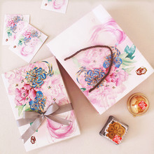 21*14*5cm 10pcs peony pink lucky theme Cookie mooncake Gift Paper Box and bag Macaron Chocolate Snacks Sweet Candy Packaging