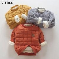 V TREE Velvet Children Sweatshirt Winter Thicken Boys Shirt Long Sleeve T Shirt For Girls Cashmere