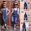 Colete + Calça Jeans Roupas de Verão Menina Ajuste Jardineira Colete Tops Branco Macacão Jeans Sem Mangas Outfits Crianças Roupas Outono
