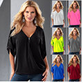2016 Fashion Loose V Neck Half Seelve Chiffon Shirt Jumper For Woman With 13 Colors And Plus Size S---5XLSize