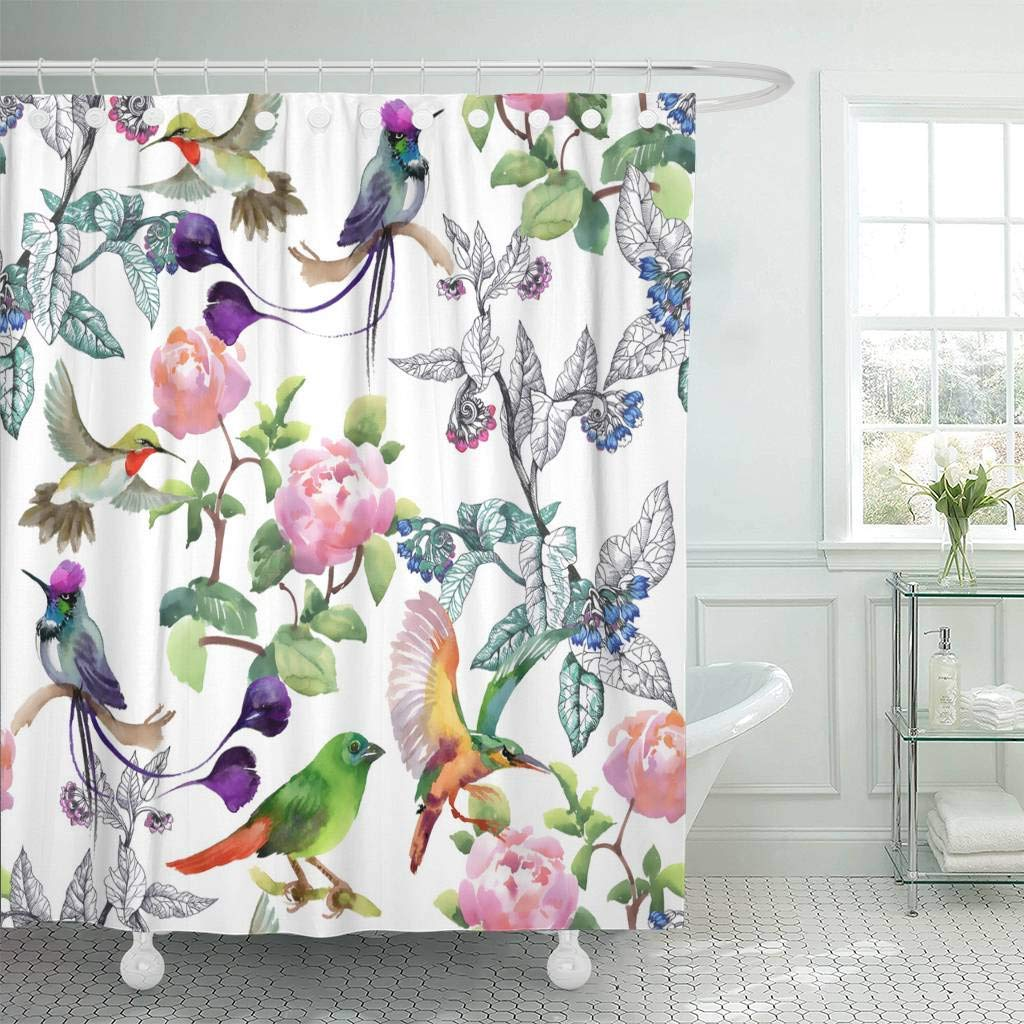Us 18 73 25 Off Fabric Shower Curtain With Hooks Purple Exotic Watercolor With Colorful Flowers And Birds On White Yellow Abstract In Shower