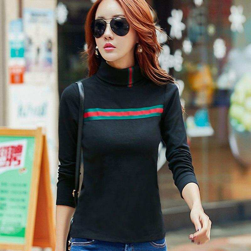 tshirts cotton women T Shirt Turtleneck Casual T Shirt Womens Tops Black Tshirt 2017 Autumn Long
