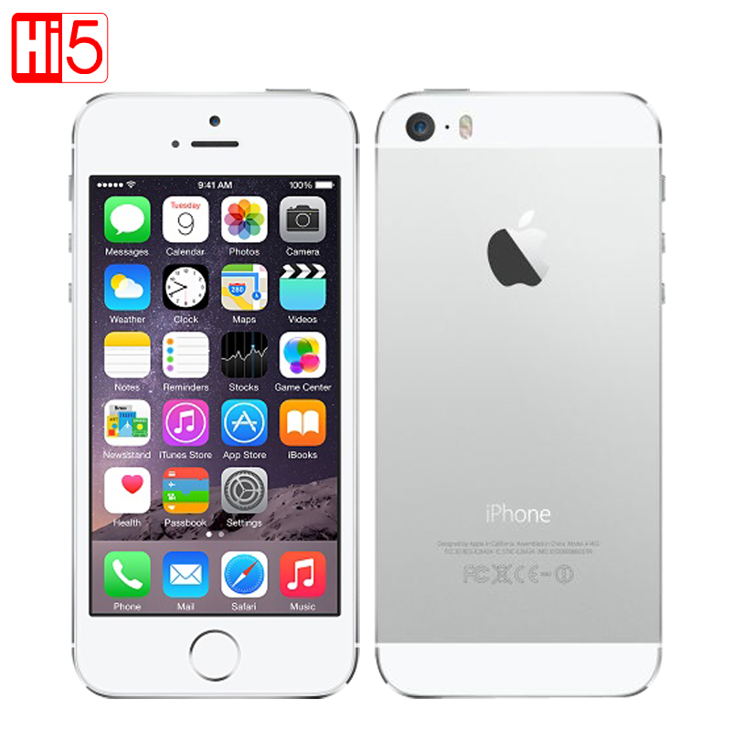 Apple iphone 5s Mobile Phone Factory Unlocked IOS Touch ID 4.0 16GB/32GB/64GB ROM WCDMA WiFi GPS 8MP original Smartphone used ...