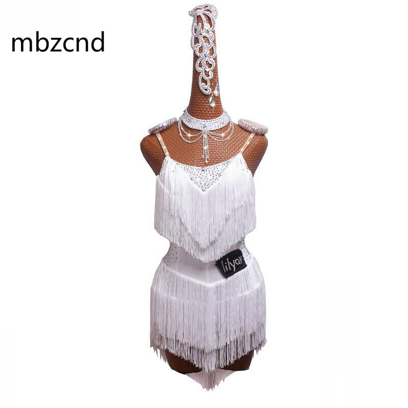 Brillant Latin danse robe femmes Performance robe Salsa danse jupe femme blanc haut Split fourche dynamique gland Latin robe ensemble