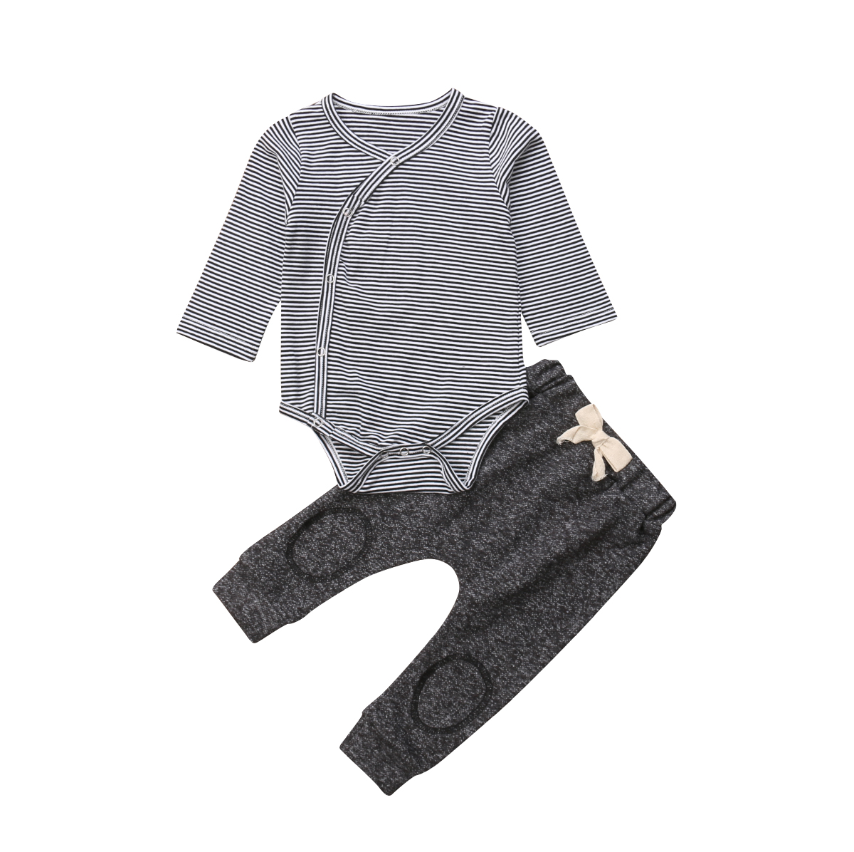 Baby Kids Boy Casual Long Sleeve Striped Lapel Collar Tops Solid Romper 2pcs//set