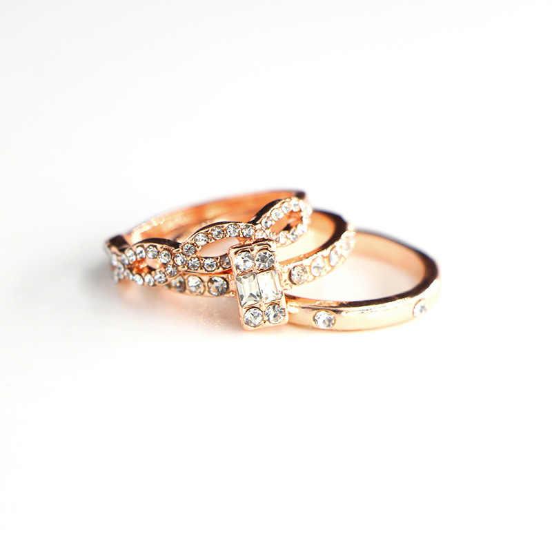 3 sztuk/zestaw moda geometria przecinają kryształowe drzewo zestaw pierścieni dla kobiet dziewczyn zaręczynowe obrączki kobiece Party biżuteria prezenty