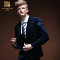 FANZHUAN High Quality Brands Clothing Mens blazer slim fit suit jacket Blue spring autumn outwear coat Embroidery Suits For Men