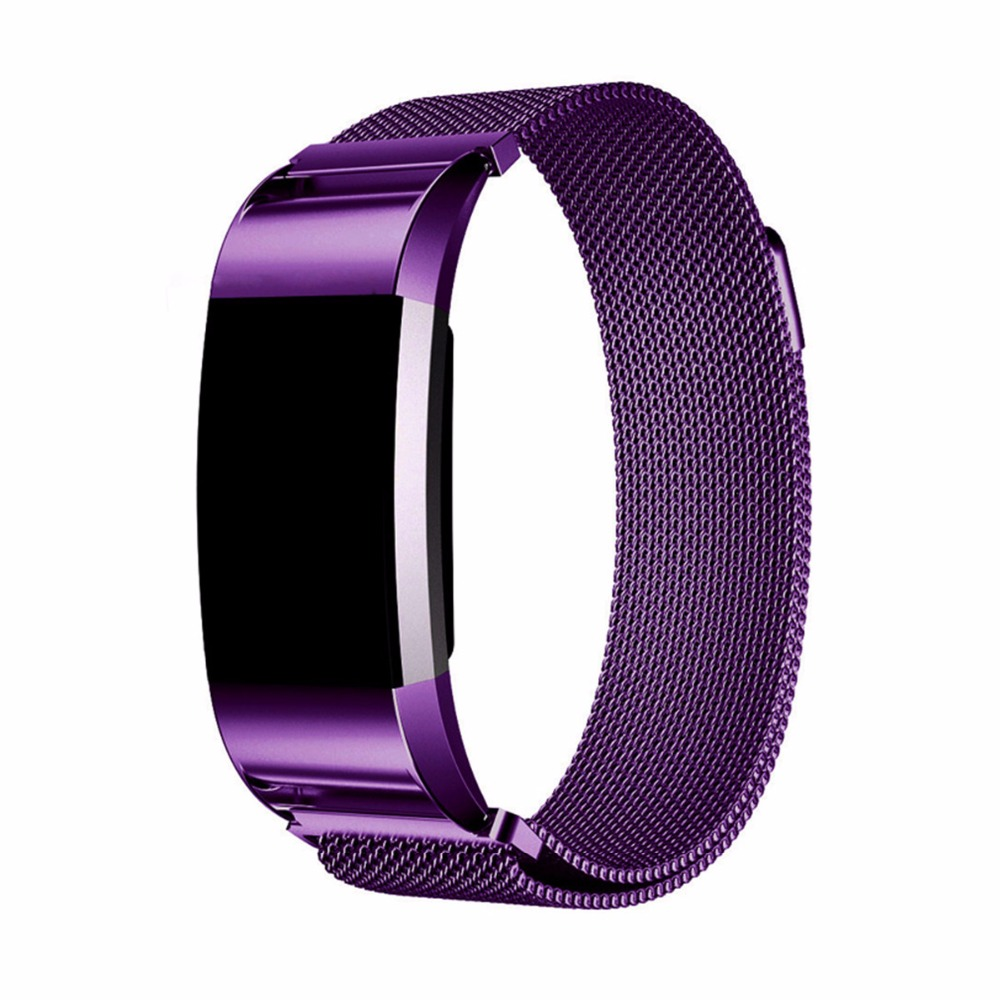 CRESTED Milanese Loop Watchbands Stainless Steel Smartwatch Strap For Fitbit Charge 2 watch Band Adjustable Magnetic Closure
