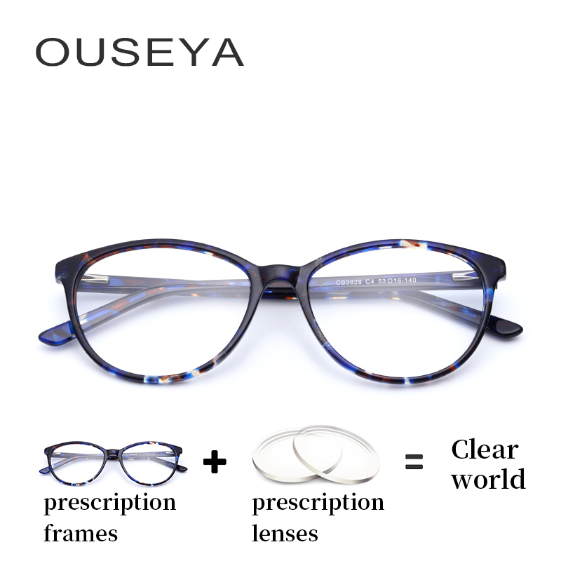 Acetate Women Optical Eyeglasses with Diopter Fashion Computer Thin Myopia Photochromic Hyperopic Multifocal Glasses #CB3828 image