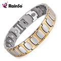 RainSo Healing Magnetic Bracelet Men Woman Titanium Health Care Magnet Silver Gold Bracelets & Bangles Hand Chain Bracelet