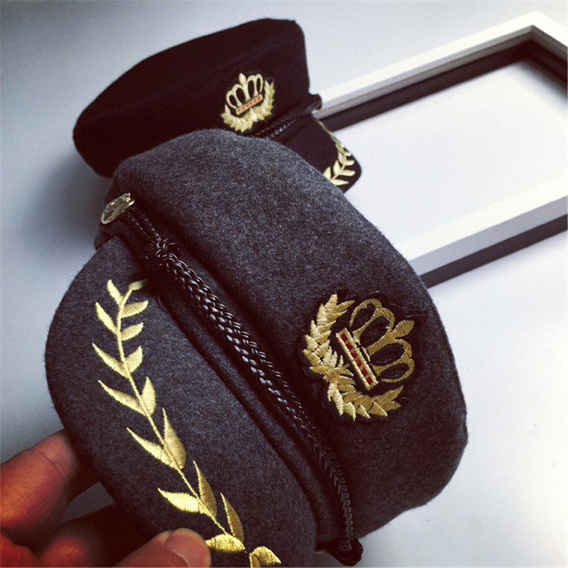 9a1b2c5039e7ce CN RUBR Crown Embroidered Badge Military Hats Flat Topped Unisex Navy Hats  Polyester Handsome Caps Four Seasons For People-in Military Hats from  Apparel ...