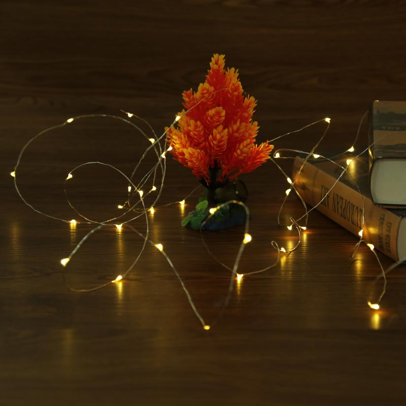 5m 50 LED Silver Wire String Lights Battery Waterproof for Xmas Garland Party Wedding Decoration Christmas Flasher Fairy Lights