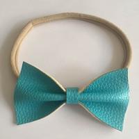 47pcs/lot Handmade Newborn Leather Bow Nylon Headband Elastic Nylon Hair Band For Girls Hair Accessories Hairbands