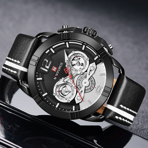 Image 5 - NAVIFORCE Creative Mens Watch Fashion Sports Watches Waterproof Leather Analog Quartz Wrist Watch Men Clock Relogio Masculino