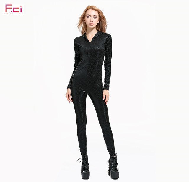 FRECICI Digital Printed Mermaid Scale Women Jumpsuit Long Sleeve Front Zip Plus Size One Piece Jumpsuit Rompers Black Scale