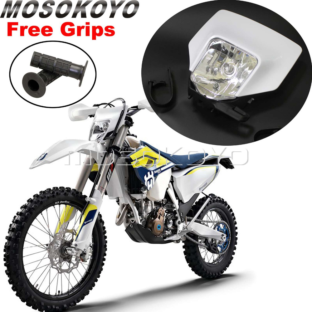 White Motocross Dirt Bike Headlight MX Enduro Head font b Lamp b font for Husqvarna FE