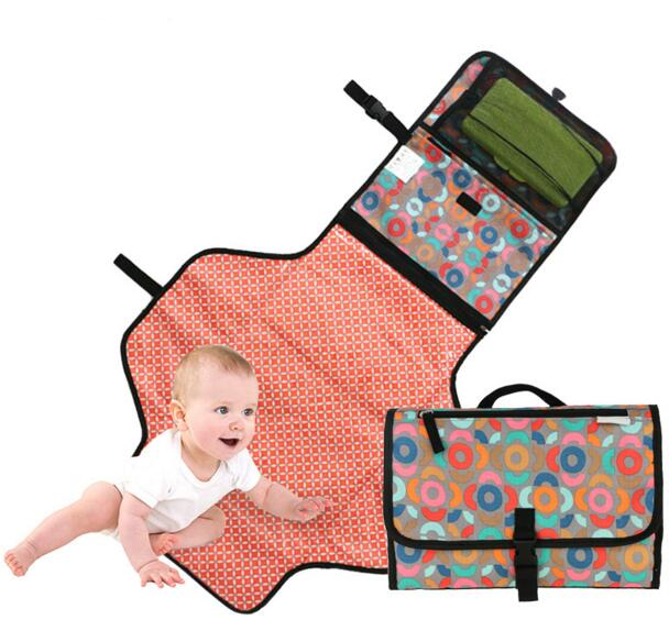 Portable Waterproof Baby Diaper Changing Mat Ny Pad Mattress Travel Hangs Stroller Changer Table Teti Red