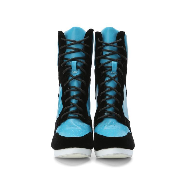 Cielo Azul Cuero Pie Mujeres Para Tacón Mujer Moda Color Zapatos Las De Dedo Alto Botas Del Redondo Gamuza Negro Cruz Atado Tobillo tEqIx
