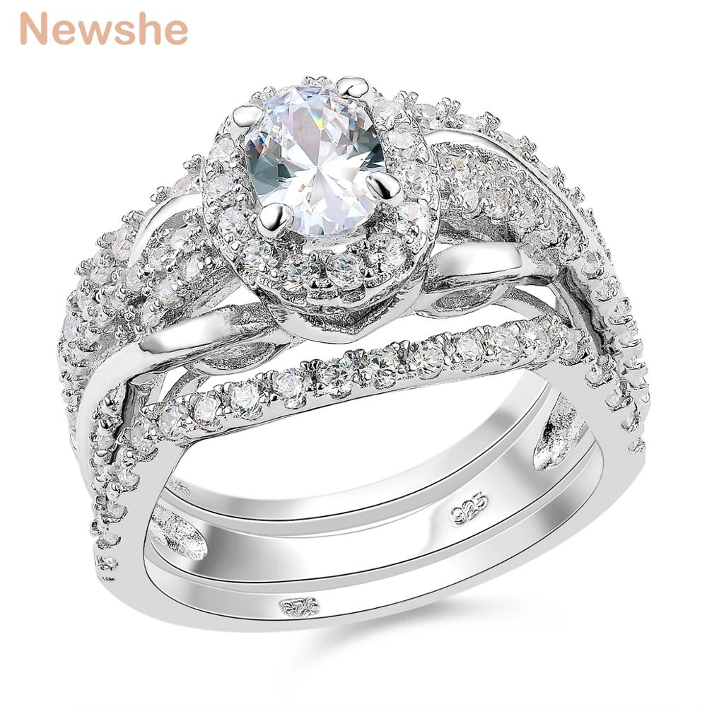 Newshe Oval Shape CZ 3 Pcs Solid 925 Sterling Silver Halo Wedding Ring Set  Engagement Band Fashion Jewelry For Women  In Rings From Jewelry U0026  Accessories On ...
