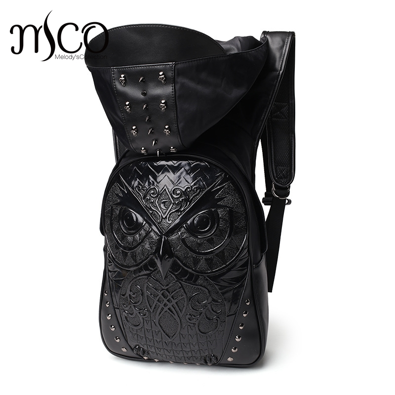 2017 Fashion Personality Owl Embossing knife leather backpack rivets backpack with Hood cap apparel bag cross bags hiphop man image