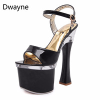 Dwayne Nightclub Super High Heels Sandal Female Work Shoes Woman Dancing Shoes Crystal Bottom Waterpoor Platform