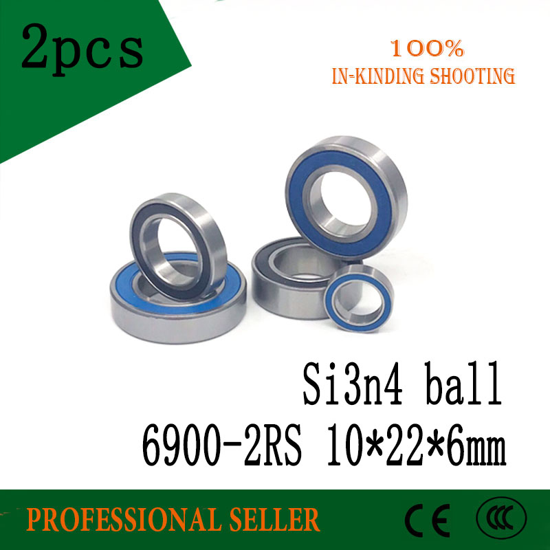 Free Shipping 2PCS 6900-2RS 10x22x6mm  6900 2RS Hybrid Ceramic Deep Groove Ball Bearing SI3N4 BALL 10x22x6mm 61900