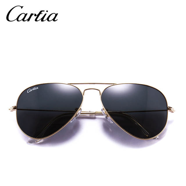 2304915a6ca4 Carfia Retro Classical Sunglasses Women Men Pilot Style Alloy Gold Frame  Green Sun glasses Vintage Eyeglasses