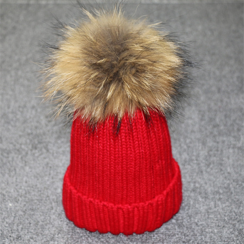 2017 Natural real fur raccoon fur pompon Winter women warm knit hat cap crochet skullies beanie with big ball solid thick cap pentacle star warm skull beanie hip hop knit cap ski crochet cuff winter hat for women men new sale