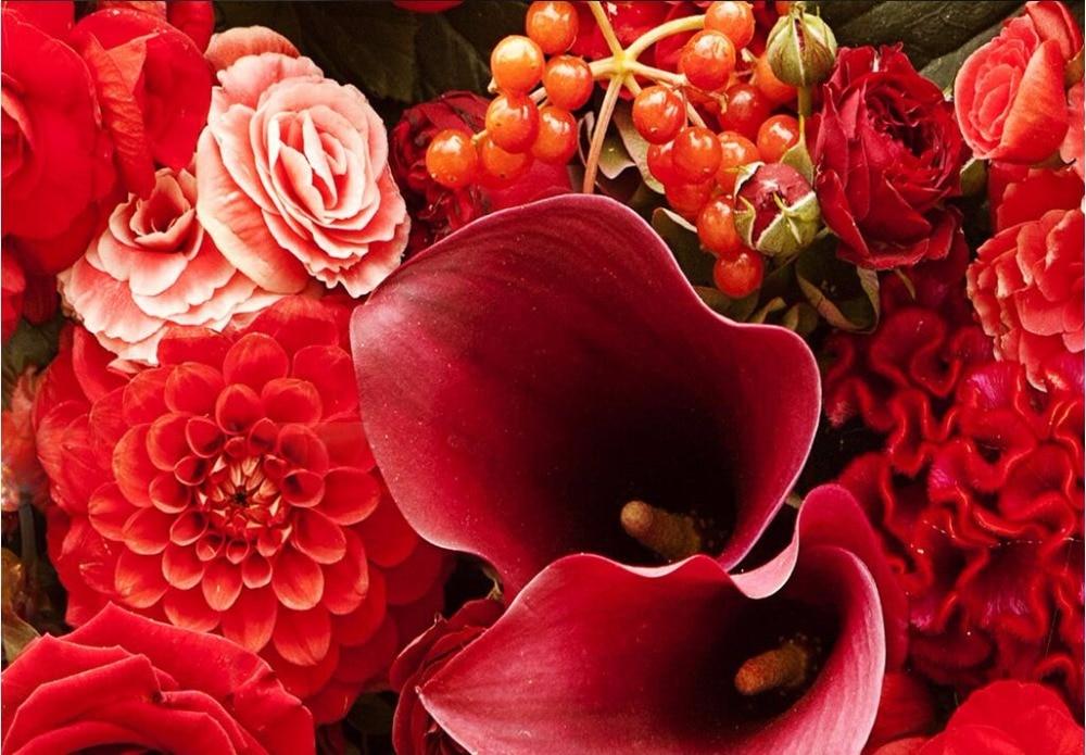 3d Papier Peint Personnalise Photo Mural Hd Rouge Rose Bouquets De