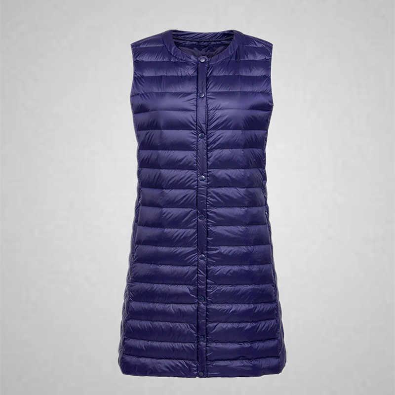 Fitaylor Winter nowe damskie ultralekkie kamizelki biała kurtka puchowa wąska w rozmiarze m długi płaszcz damski jednorzędowy odzież wierzchnia