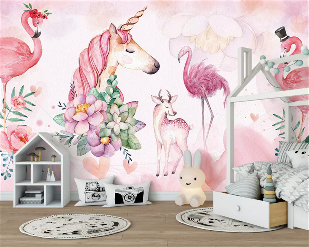 Купить с кэшбэком beibehang Custom size wall paper Nordic pink simple flamingo children's room decoration background papel de parede 3d wallpaper