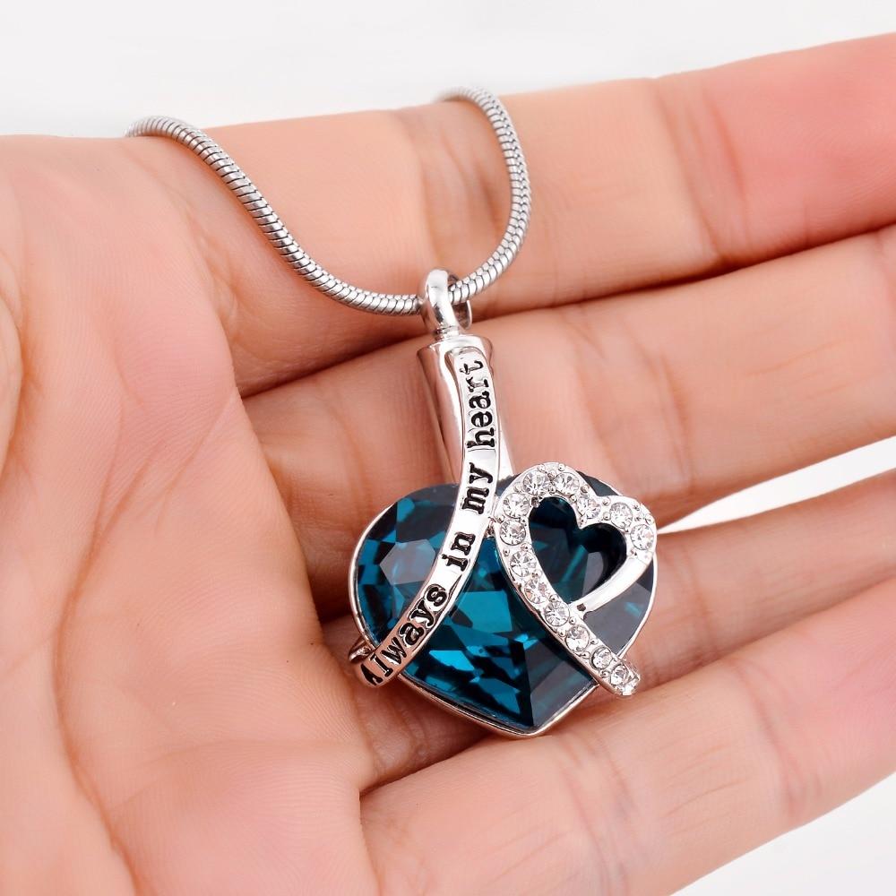 Always in my heart Locket screw Heart cremation memorial ashes urn birthstone necklace jewelry keepsake pendant 3