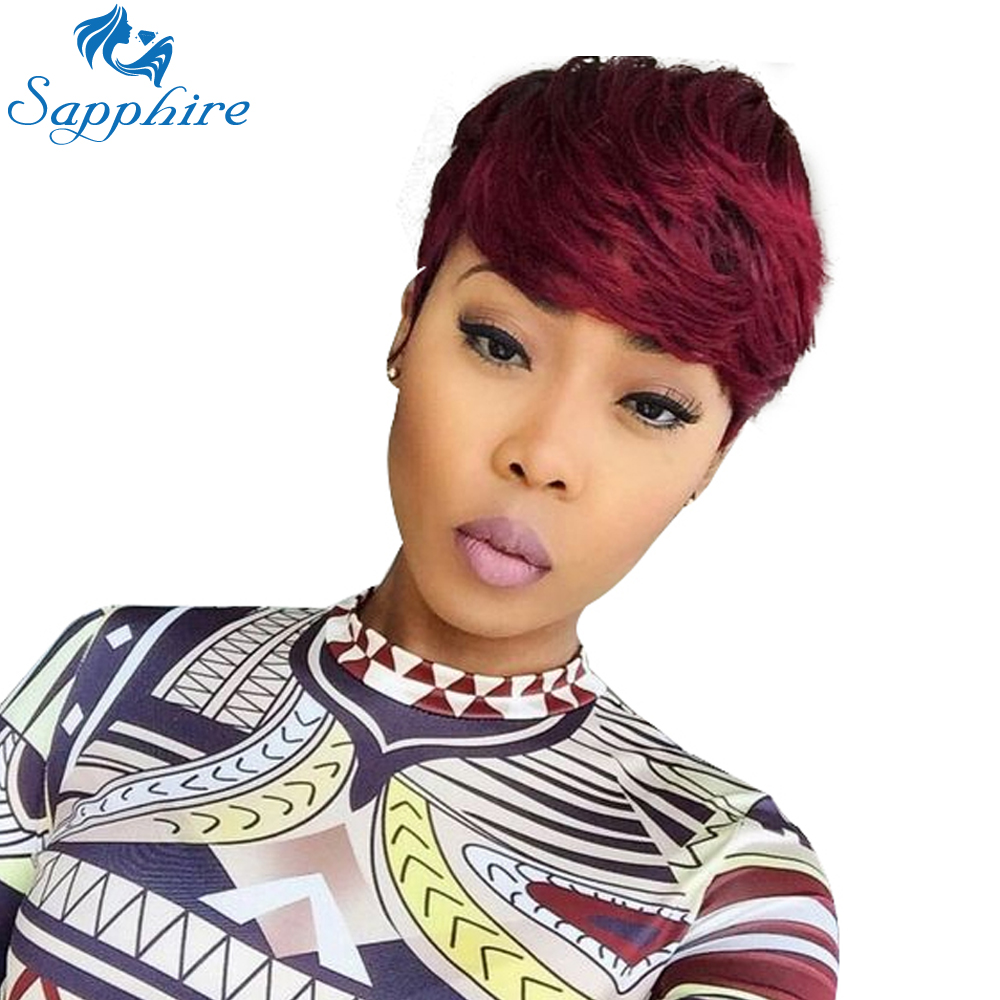 Sapphire Short Burgundy Wigs for Women Human Hair Machine Made Remy Wig Cosplay Party Wig Red