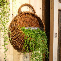 Rattan Flower Basket Shape Flower Plant Hanging Vase Container Home Indoor Office Wedding Decor Wickered Wall Vase