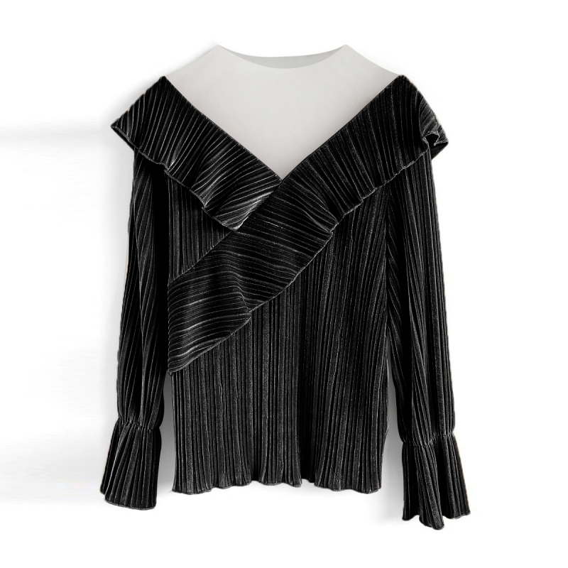 dc13f2f7068890 Lazy V neck Grenadine Velvet Flouncing Top Shirt Long Sleeves Ruffle  Designed Matching Blouse Black TA02800128-in Blouses   Shirts from Women s  Clothing on ...
