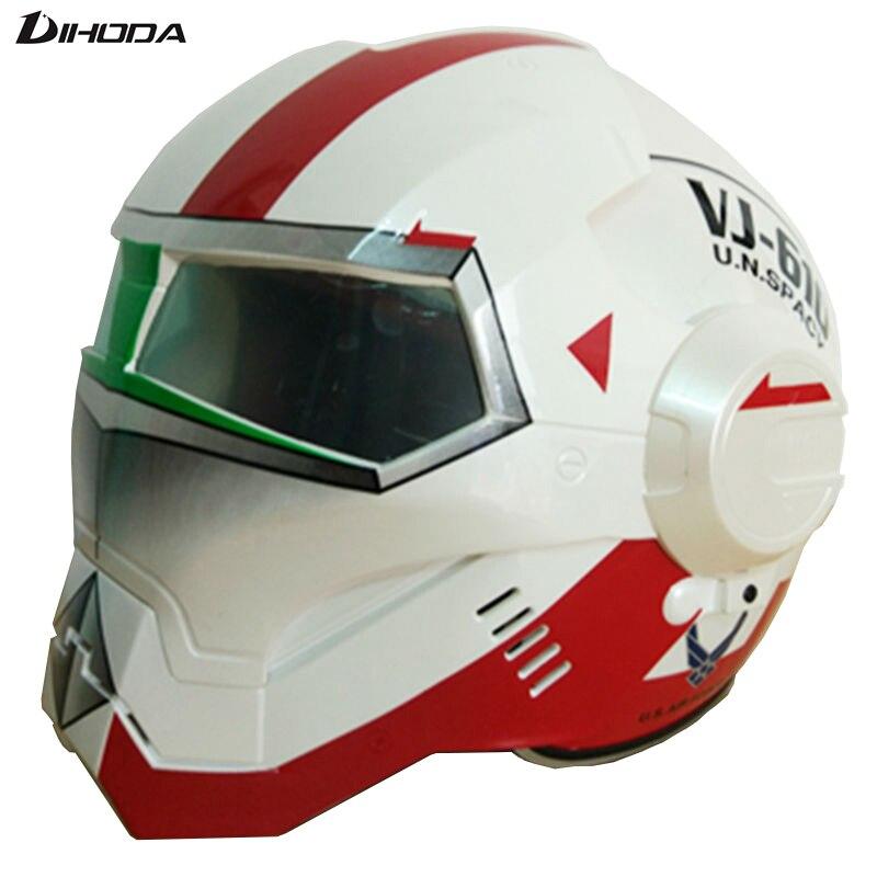 Masei Hommes femmes Blanc Rouge VJ U.N. SPACY IRONMAN Iron Man casque de moto moitié casque open face casque ABS casque motocross