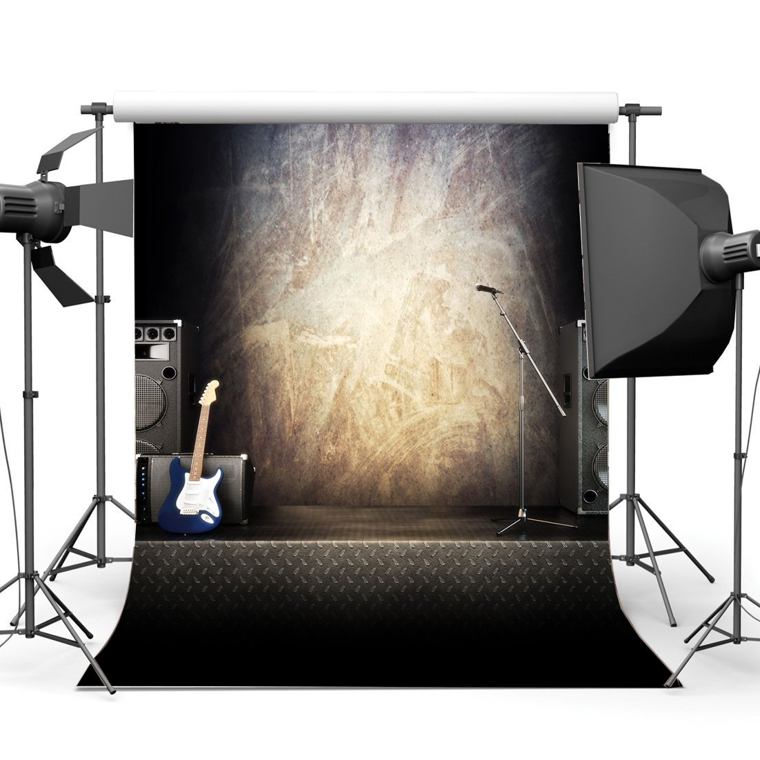 NiuXphoto School Band Concert Backdrop 5X7FT Rock Music Guiter Vinyl Backdrops Nostalgia Wood Plank Wooden Floor Photography Background for 80s 90s Hip Hop Style Party Photo Studio Props LL172
