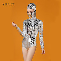 Silver Head Piece Mirrors Bodysuit Costume Stage Dance Wear Outfit Party Women Singer Dancer DJ Bar Performance Sexy Leotard