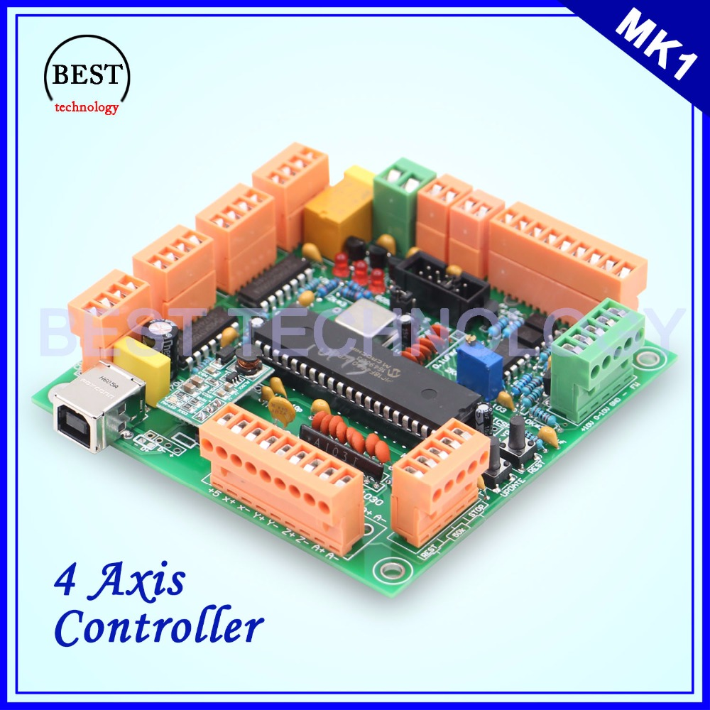 4 Axis USB CNC Controller CNC USB Interface Board USB CNC 2.1 MK1 MACH3 Upgrading Control Board !! freeshipping 0 to 10 vpwm spindle speed controller mach3 interface board