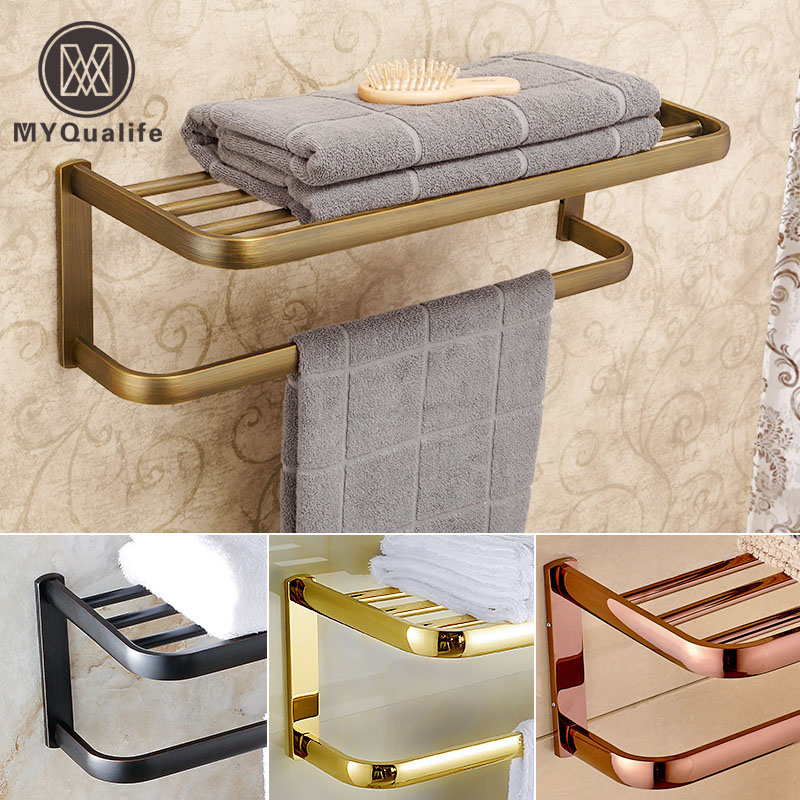 Luxury Wall Mount Brass Bathroom Towel Rack Towel Bar Bathroom Accessories Bathroom Shelf женская футболка hic 1 t t hic 5554