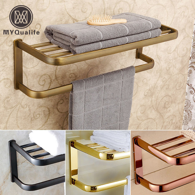 Bon Luxury Wall Mount Brass Bathroom Towel Rack Towel Bar Bathroom Accessories  Bathroom Shelf