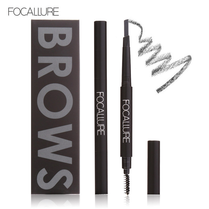 FOCALLURE Automatic Rotary Eyebrow Pencil Waterproof and Sweat Double Eyebrow Pencil with Eyebrow Brush SMBO