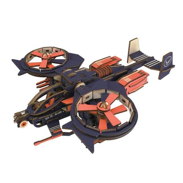 NFSTRIKE Kids Model Building Kits Wood Scorpion Fighter Pattern 3D Wooden Assembly Construction Kit Jigsaw Gift For Children
