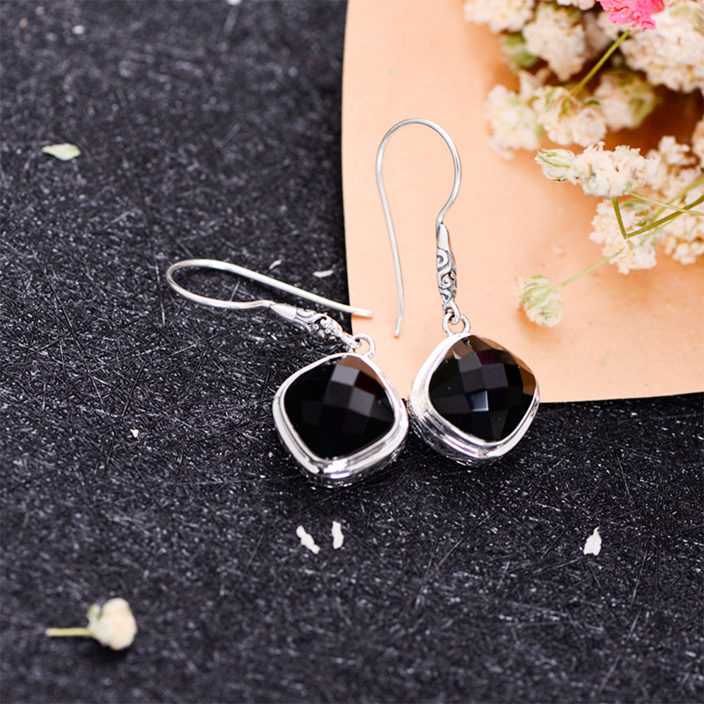 MetJakt Natural Agate Earrings & Manual Cutting Stone Solid 925 Sterling Silver Drop Earrings for Women's Vintage Ethnic Jewelry vintage natural stone drop earrings