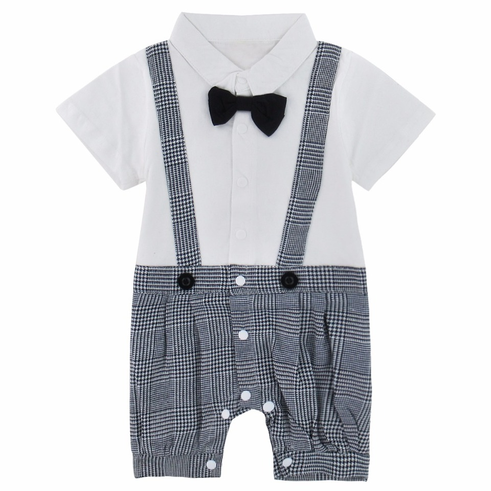 Newborn Baby Boy Gentlemen Rompers Plaid Suspender Pants Outfit Wedding Formal Wear with Bowtie White//Grey for 12-18 Months