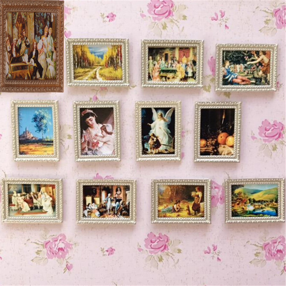 Random 1:12 Dollhouse Framed Wall Painting Vintage Miniature Random Style Doll Home Wall Decor Accessories