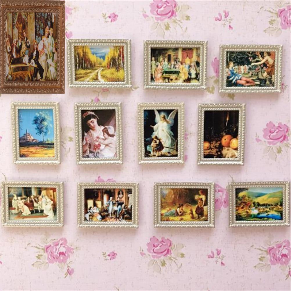 Random 1:12 Dollhouse Framed Wall Painting Vintage Miniature Random Style Doll Home Wall Decor Accessories