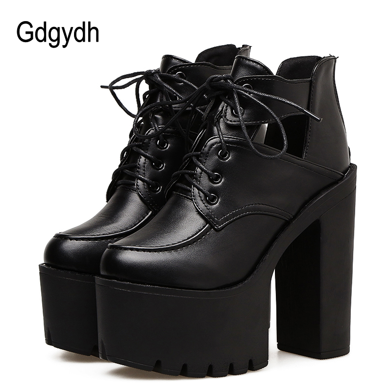 Gdgydh Black Spring Boots Women Platform Lacing Thick Heels Leather Party Shoes Ultra High Heels Cut Out Gothic Shoes Woman 2020