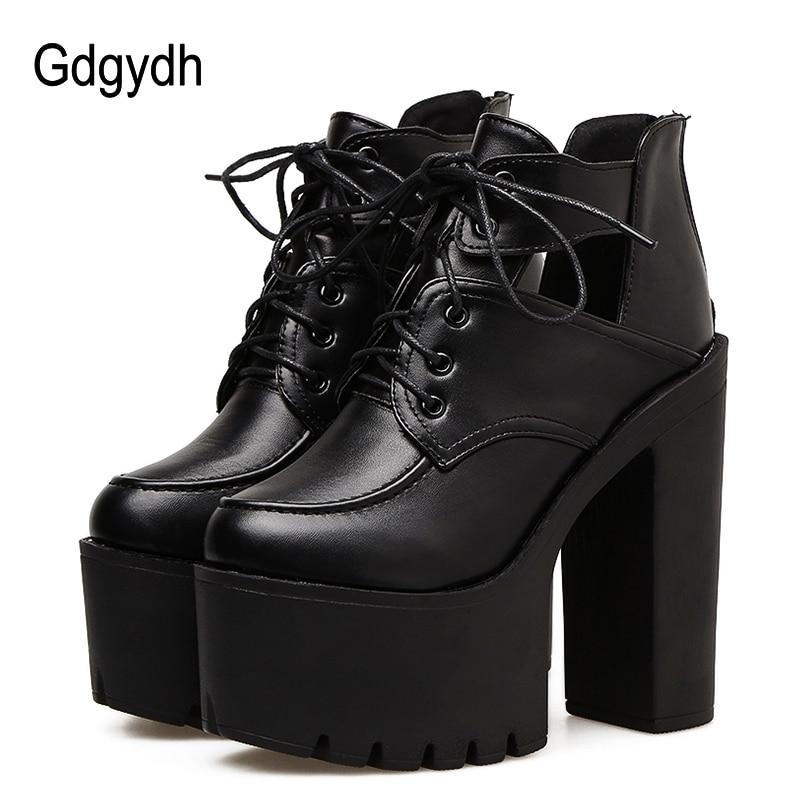 Gdgydh 블랙 스프링 부츠 여성 플랫폼 레이싱 두꺼운 발 뒤꿈치 가죽 파티 신발 울트라 하이힐 고딕 신발 여성을 잘라 내기-에서앵클 부츠부터 신발 의  그룹 1